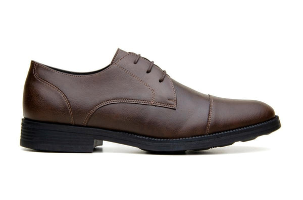 Classic vegan leather derby by Vincente Verde -  espresso