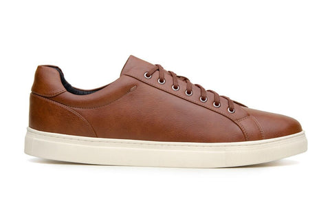 Classic vegan leather sneaker by Vincente Verde -  cognac