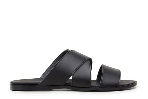 'Rimini' vegan leather men's sandal by Vincente Verde - black
