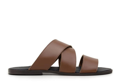 'Rimini vegan leather men's sandal by Vincente Verde - cognac