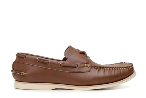 'Palermo' vegan leather boat shoe by Vincente Verde - cognac