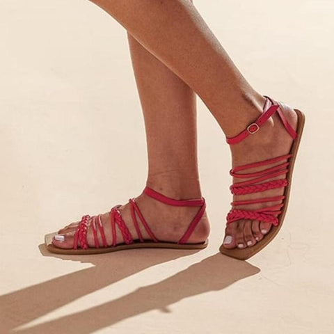 Flat vegan sandal by Arenaria - red