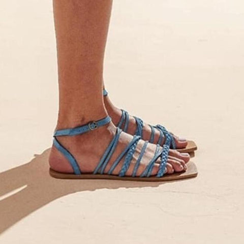 Flat vegan sandal by Arenaria - blue