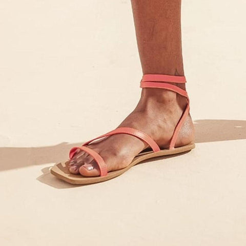 Flat vegan sandal by Arenaria - orange