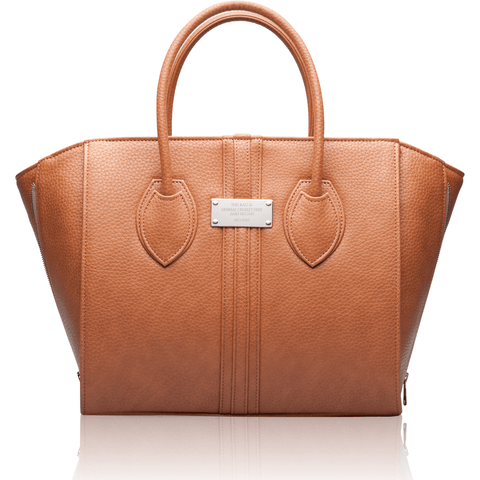 Alexandra K - vegan luxury bag - 1.5 toffee silver