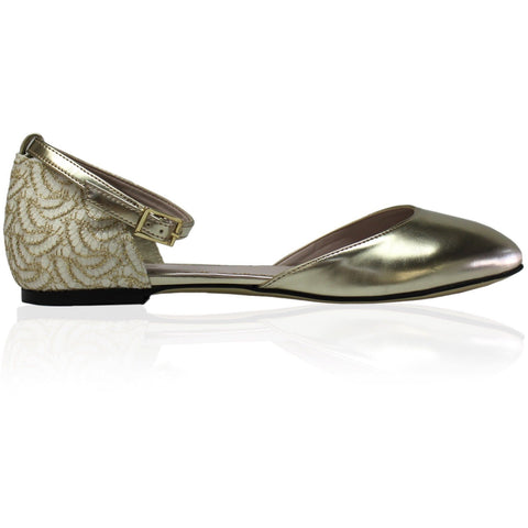 'Lara' D'Orsay Sandals (Platinum/Lace) by Zette Shoes - Vegan Style