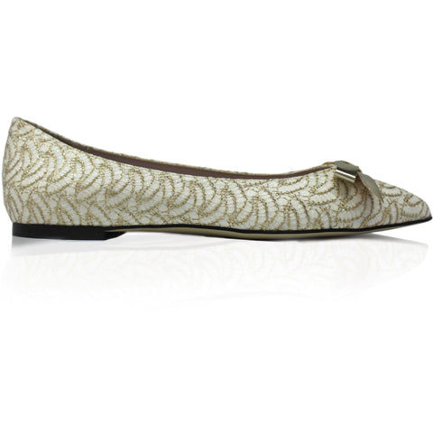 'Nina' Bow Ballet Flats (White Lace) by Zette Shoes - Vegan Style
