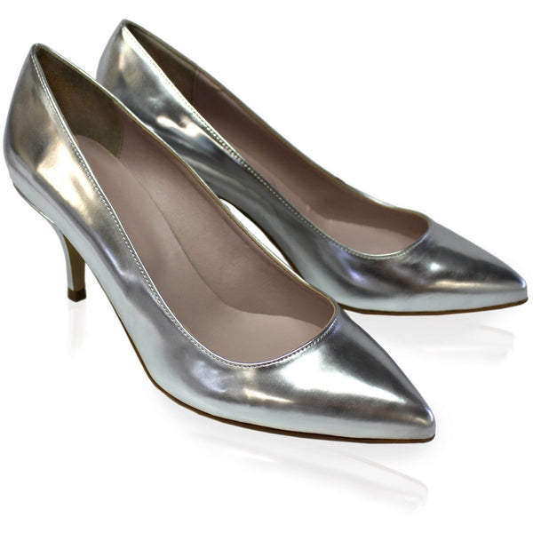 'Leela' Kitten Heels (Silver) by Zette Shoes - Vegan Style