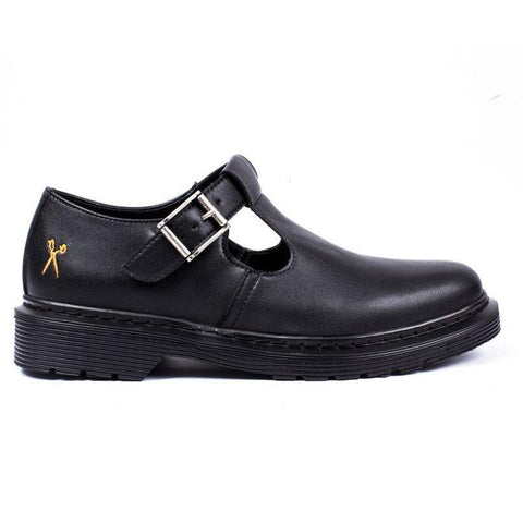 'UK Doll' matte black vegan T-Bar shoe by King55 - Vegan Style