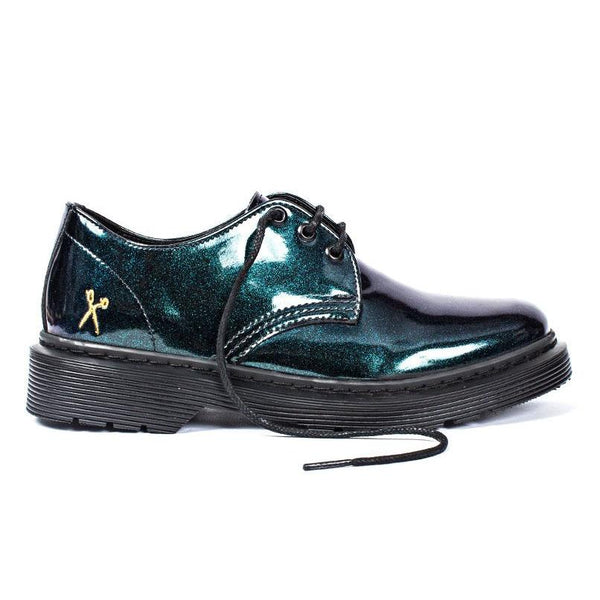 'Glitter UK' patent vegan lace-up shoe by King55 - Vegan Style
