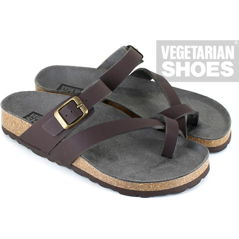 'Toe Strap' Sandal (Brown) by Vegetarian Shoes