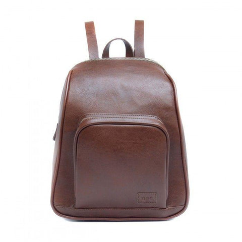 'Leia' backpack bag with two zippers from NAE - brown
