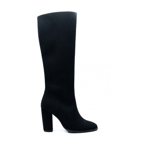 'Chere' vegan knee-high high-heeled boot by NAE - black