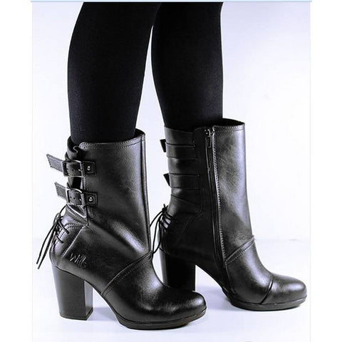 Will's London - Heeled Buckle Boots - boots - (black)
