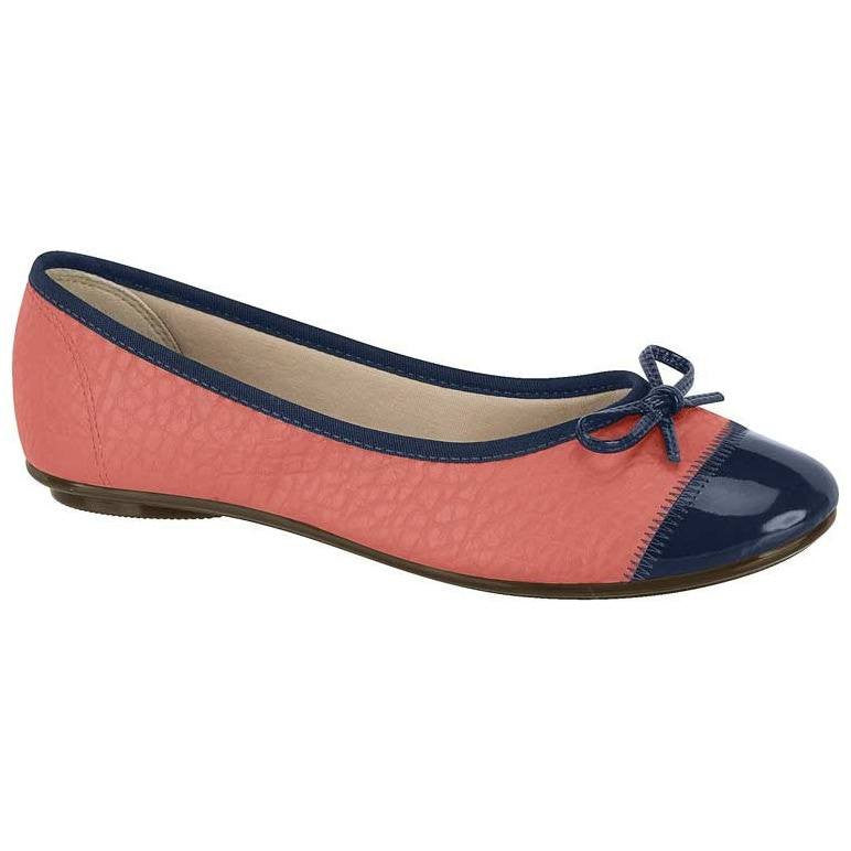 Ballet flat with bow, coral and black