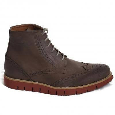 NAE - men's vegan boot - 'Ivan' (brown with red sole) - Vegan Style