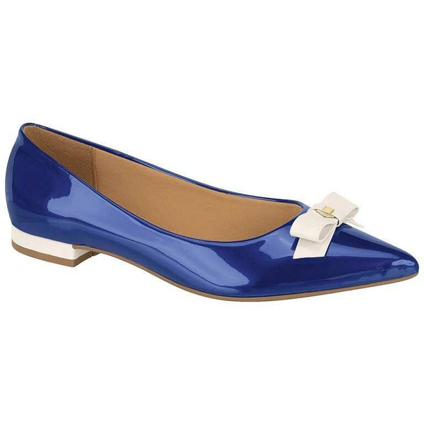 Vizzano - patent pointed-toe flat - blue/white
