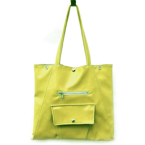 Crystalyn Kae - 'Metier Square Shopper' Tote (Citrine Green) - Vegan Style