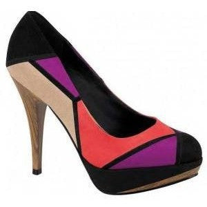Block colour, watermelon/violet/beige and black high heel