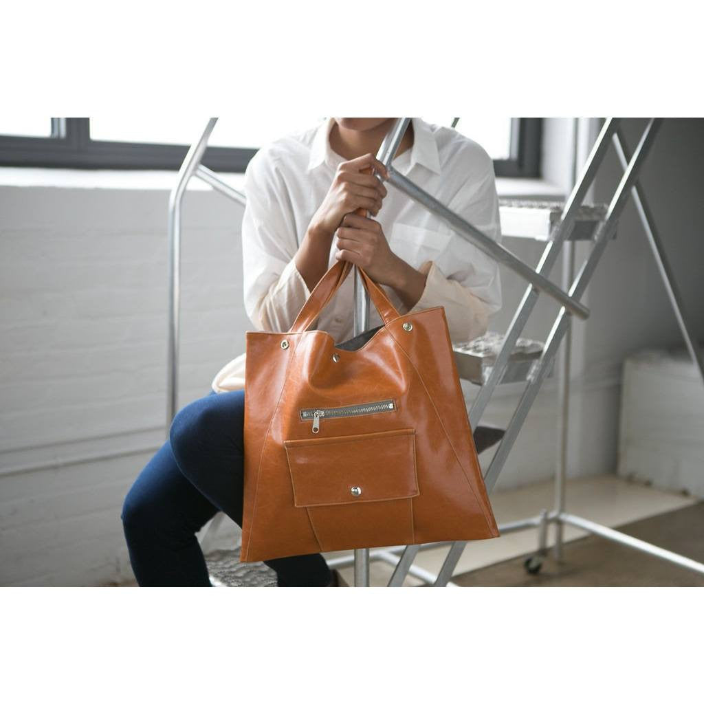 Crystalyn Kae - 'Metier Square Shopper' Tote (Butterscotch) - Vegan Style