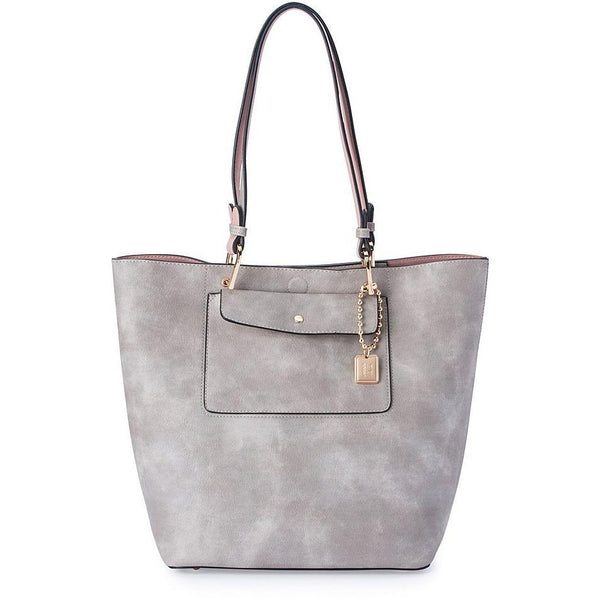 'Gigi' Vegan Bowler Bag (Steel rose) by Thea & Theos