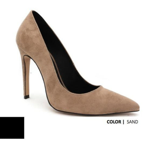 Faux-Suede 110mm High Heels (Sand) by FAIR Shoes - Vegan Style