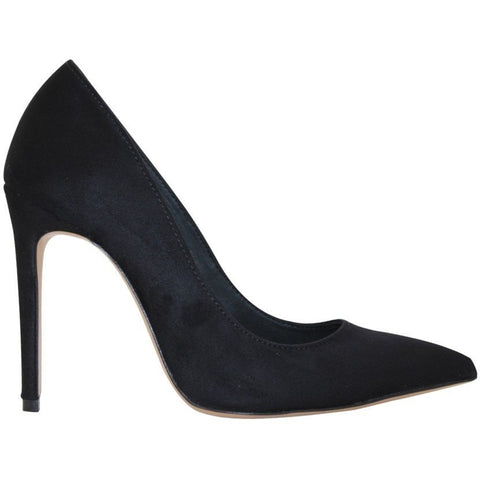 FAIR Shoes - vegan women's faux-suede heels (black)