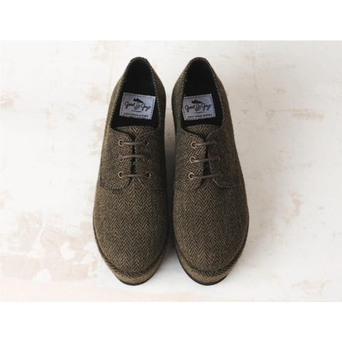 Good Guys don't Wear Leather - vegan oxfords - 'Holly' (khaki tweed)