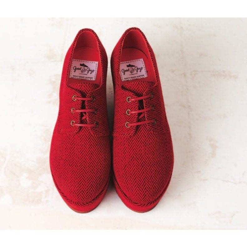 Good Guys don't Wear Leather - vegan wedges - 'Poni' (red tweed) - Vegan Style