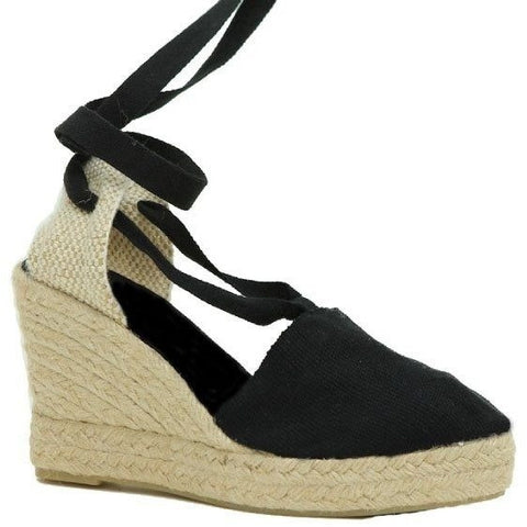 Zapas - Lace Up Espadrilles (Black) - Vegan Style
