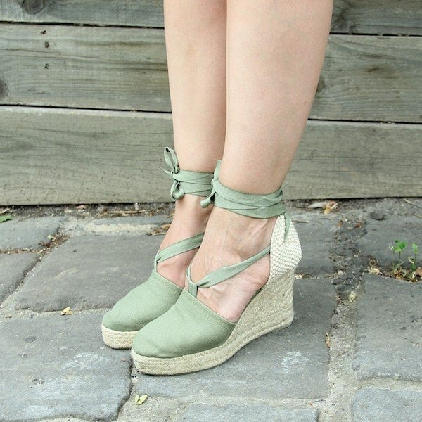 Zapas - Khaki Lace Up Espadrilles