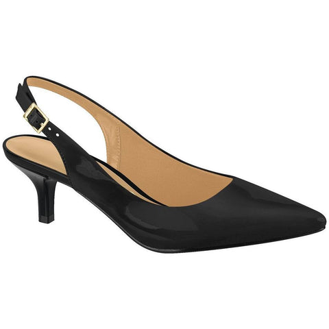 Vizzano - patent low-heeled sling-backs in black