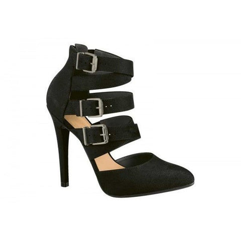 High heel with buckled straps (black)