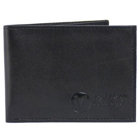 'Compact' Bi-Fold Vegan Wallet By The Vegan Collection - Black - Vegan Style