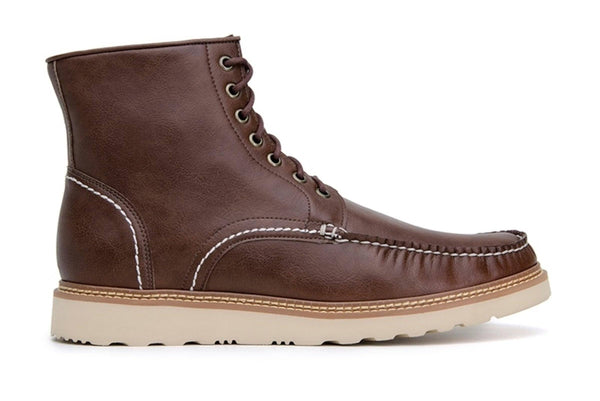 'Chris' Unisex lace-up vegan boots by Ahimsa - cognac - Vegan Style