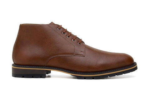 'Roger' vegan men's lace-up boots by Ahimsa - cognac