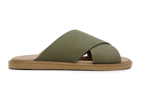'Mia' women's vegan sandals by Ahimsa - dark olive - Vegan Style