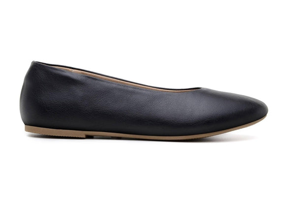 'Nelita' vegan women's flat by Ahimsa - matte black - Vegan Style