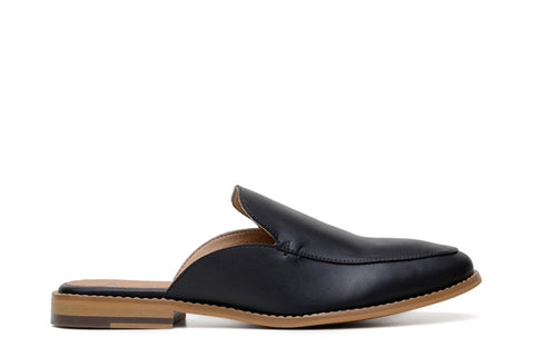 'Emma' vegan-leather women's flat mule by Ahimsa Shoes - black