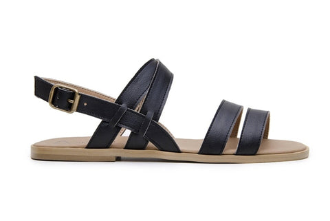 Cristina vegan-leather black sandals for women