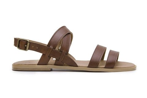 'Cristina' women's vegan sandals by Ahimsa - cognac - Vegan Style