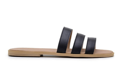 Shop vegan leather black slides sandals in Australia