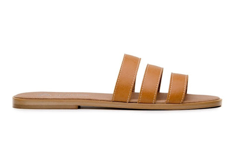 shop tan vegan leather slides sandals