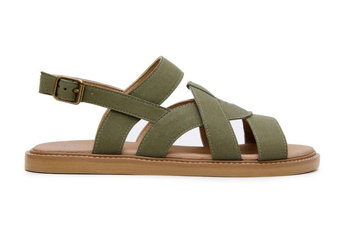 'Camila' vegan-leather sandal by Ahimsa Shoes - dark olive
