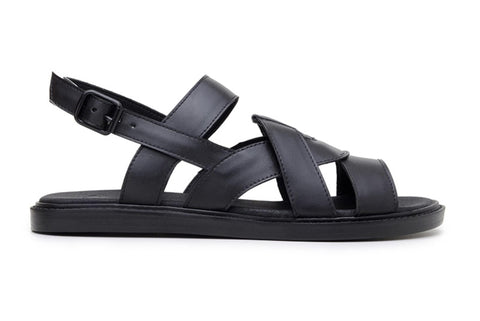 'Camila' vegan-leather sandal by Ahimsa Shoes - black