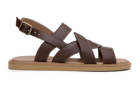 'Camila' vegan-leather sandal by Ahimsa Shoes - cognac