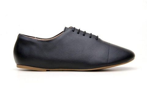 'Gaia' vegan-leather women's oxford by Ahimsa Shoes - black - Vegan Style