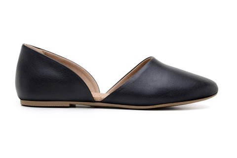 'Cecliia' vegan-leather women's flat by Ahimsa Shoes - black