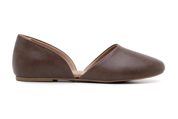 'Cecilia' vegan-leather women's flat by Ahimsa Shoes - cognac