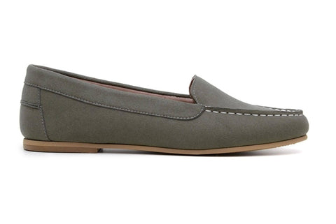 'Luisa' vegan-suede women's moccasin Ahimsa Shoes - dark olive